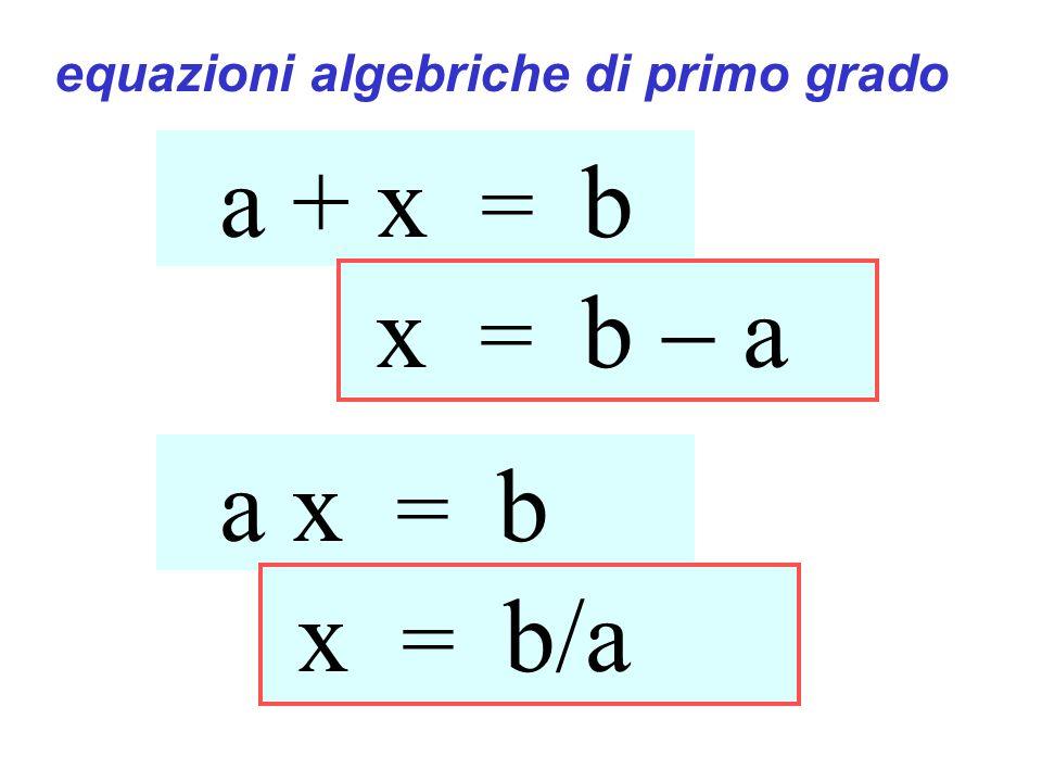 a + x = b x = b a a x = b x = b/a equazioni algebriche di primo grado Equazioni di primo grado