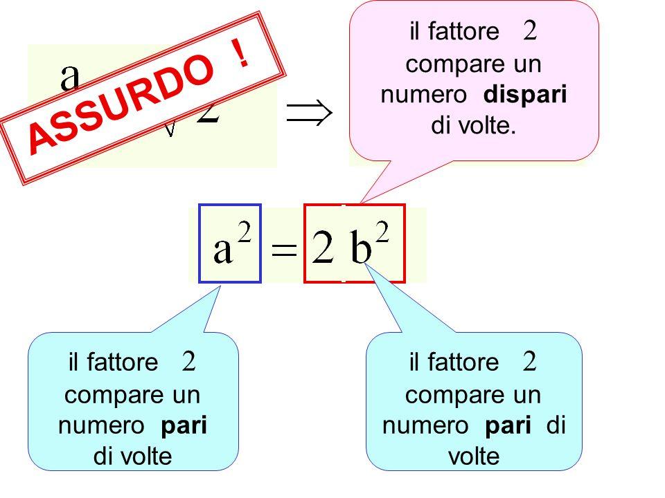 il fattore 2 compare un numero pari di volte ASSURDO .