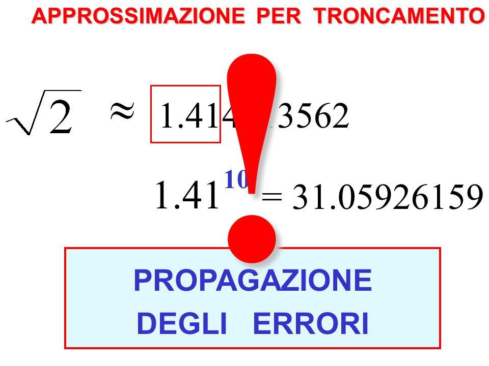 APPROSSIMAZIONE PER TRONCAMENTO 1.414213562 1.41 10 = 31.05926159 10 = 2 5 = 32 PROPAGAZIONE DEGLI ERRORI.