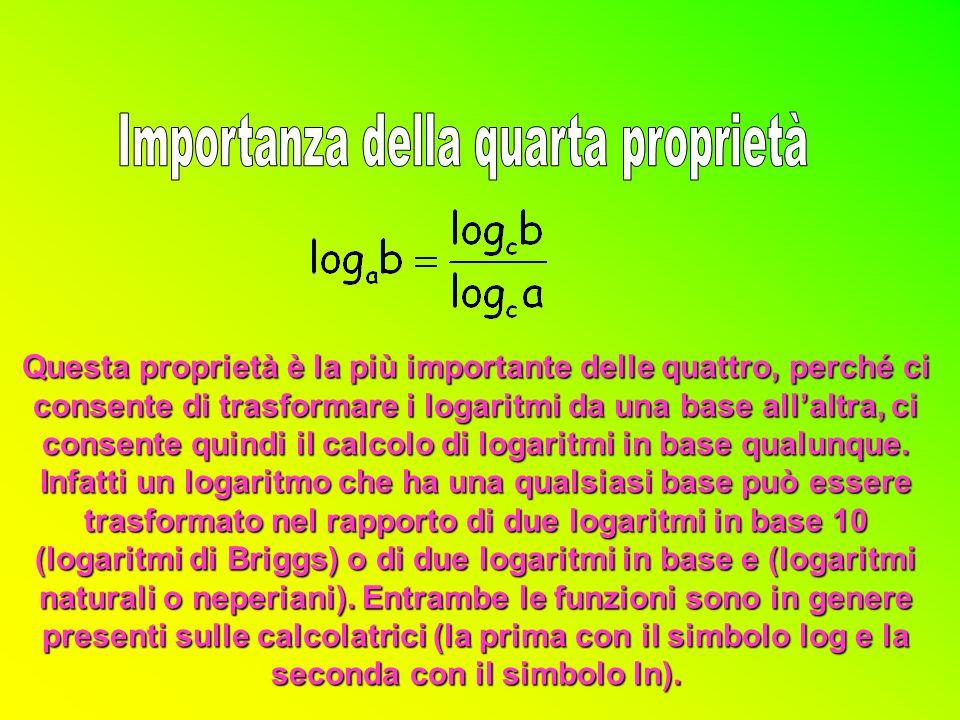ax ax =b cy cy cz cz =a per la biunivocità della funzione esponenziale zx = y da cui: x = y/z (c.v.d.) per la proprietà delle potenze: c zx =c y a x =