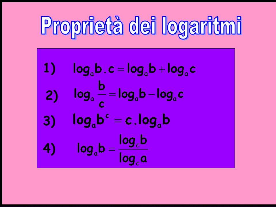 1) 3) 4) Proprietà logaritmi 2)