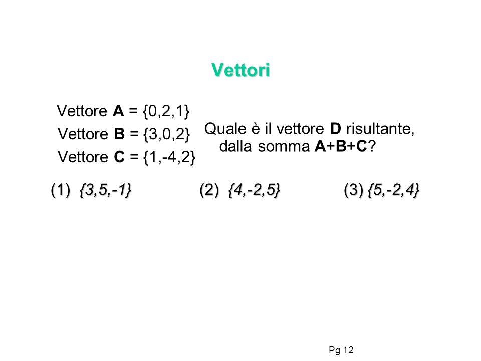 Pg 12 Vettori Vettore A = {0,2,1} Vettore B = {3,0,2} Vettore C = {1,-4,2} Quale è il vettore D risultante, dalla somma A+B+C? (1) {3,5,-1} (2) {4,-2,
