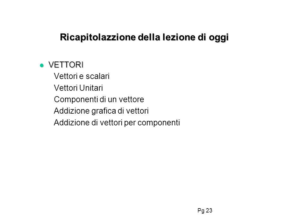 Pg 23 Ricapitolazzione della lezione di oggi l VETTORI Vettori e scalari Vettori Unitari Componenti di un vettore Addizione grafica di vettori Addizio