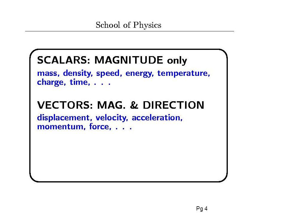 Pg 5 Vettori In 1 dimensione, possiamo specificare la direzione con i segni + o -.