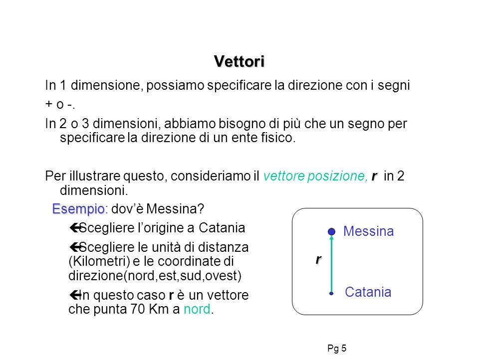 Pg 5 Vettori In 1 dimensione, possiamo specificare la direzione con i segni + o -. In 2 o 3 dimensioni, abbiamo bisogno di più che un segno per specif