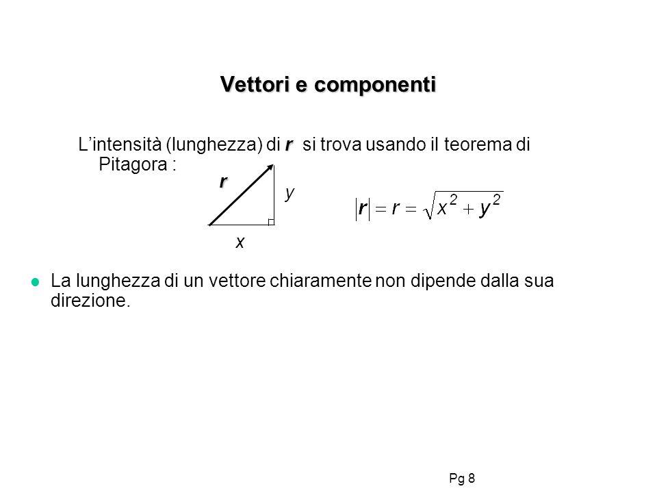 Pg 8 Vettori e componenti r Lintensità (lunghezza) di r si trova usando il teorema di Pitagora : r y x l La lunghezza di un vettore chiaramente non di