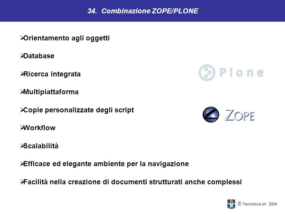 34. Combinazione ZOPE/PLONE © Tecnoteca srl 2004 Orientamento agli oggetti Database Ricerca integrata Multipiattaforma Copie personalizzate degli scri