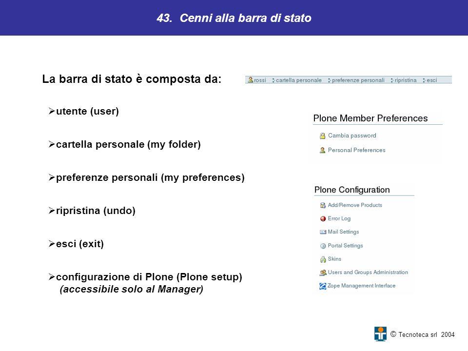 43. Cenni alla barra di stato © Tecnoteca srl 2004 utente (user) cartella personale (my folder) preferenze personali (my preferences) ripristina (undo