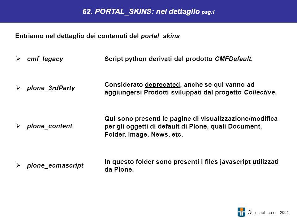 Qui sono presenti le pagine di visualizzazione/modifica per gli oggetti di default di Plone, quali Document, Folder, Image, News, etc. 62. PORTAL_SKIN