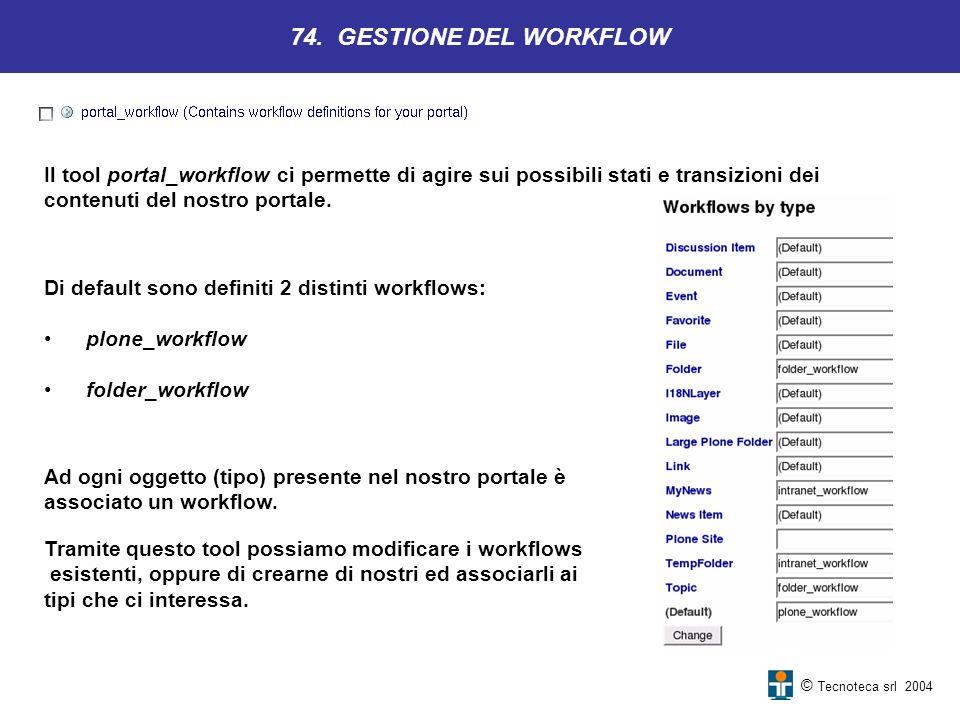 © Tecnoteca srl 2004 74. GESTIONE DEL WORKFLOW Il tool portal_workflow ci permette di agire sui possibili stati e transizioni dei contenuti del nostro