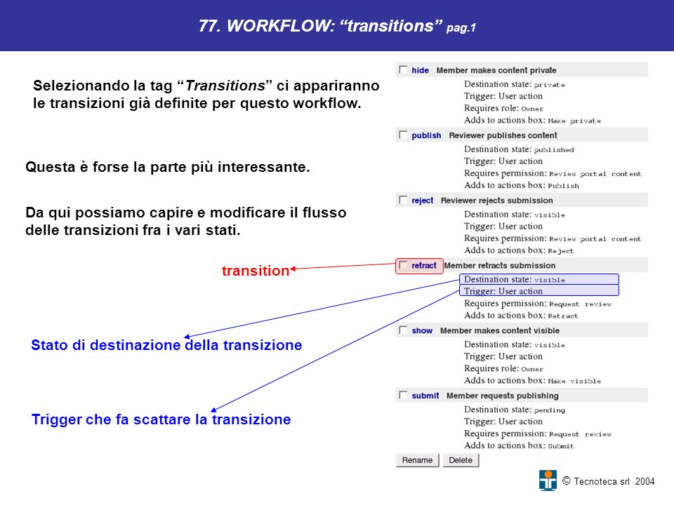 © Tecnoteca srl 2004 77. WORKFLOW: transitions pag.1 Selezionando la tag Transitions ci appariranno le transizioni già definite per questo workflow. Q
