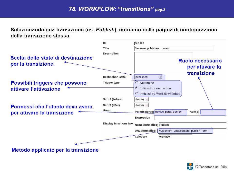 © Tecnoteca srl 2004 78. WORKFLOW: transitions pag.2 Selezionando una transizione (es. Publish), entriamo nella pagina di configurazione della transiz