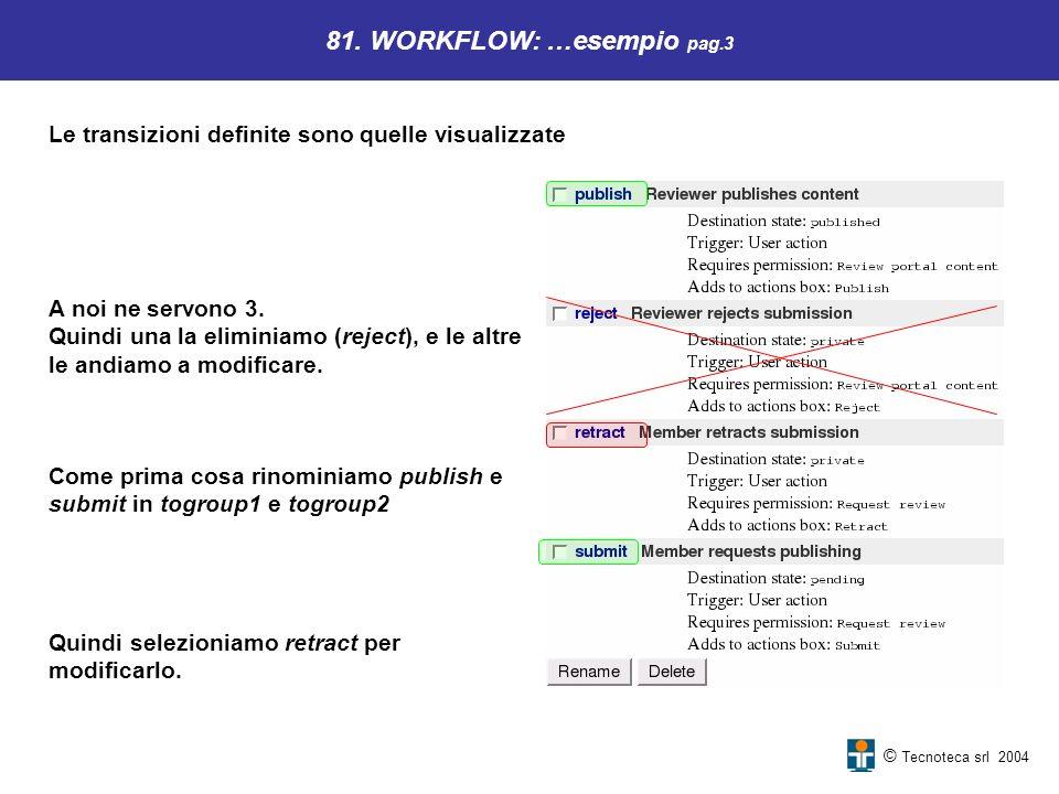 © Tecnoteca srl 2004 81. WORKFLOW: …esempio pag.3 Le transizioni definite sono quelle visualizzate Come prima cosa rinominiamo publish e submit in tog