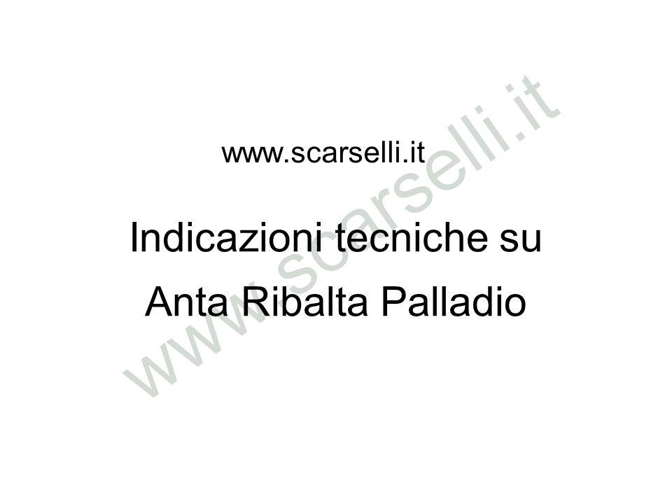 Anta Ribalta Palladio www.scarselli.it Indicazioni tecniche su