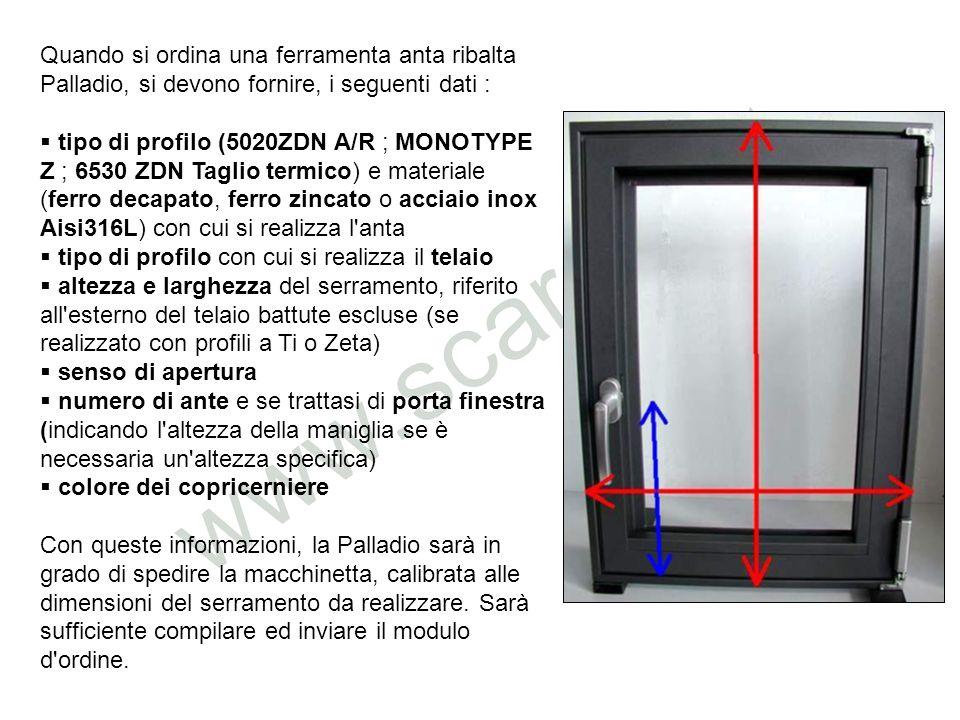 Quando si ordina una ferramenta anta ribalta Palladio, si devono fornire, i seguenti dati : tipo di profilo (5020ZDN A/R ; MONOTYPE Z ; 6530 ZDN Tagli