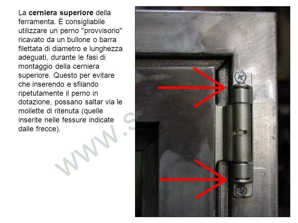 La cerniera superiore, può essere fornita anche nella variante ad angolo, come quella dellimmagine.