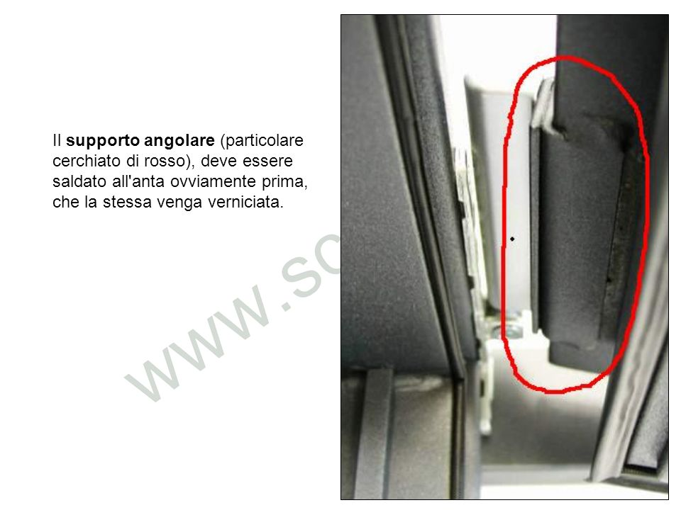 Il supporto angolare (particolare cerchiato di rosso), deve essere saldato all'anta ovviamente prima, che la stessa venga verniciata.