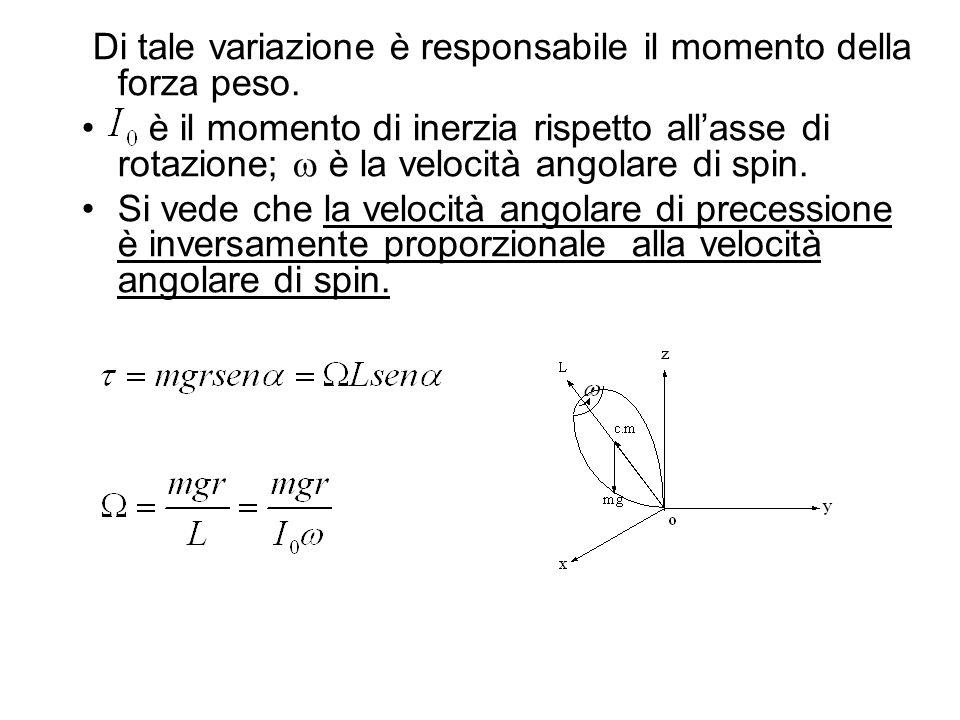 Di tale variazione è responsabile il momento della forza peso. è il momento di inerzia rispetto allasse di rotazione; è la velocità angolare di spin.