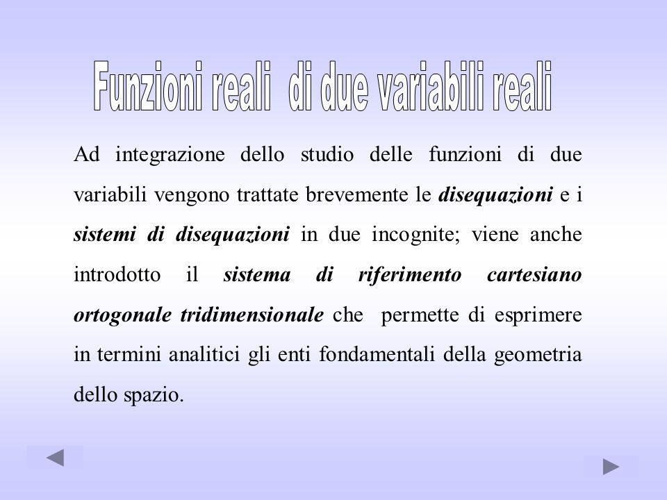 Ad integrazione dello studio delle funzioni di due variabili vengono trattate brevemente le disequazioni e i sistemi di disequazioni in due incognite;