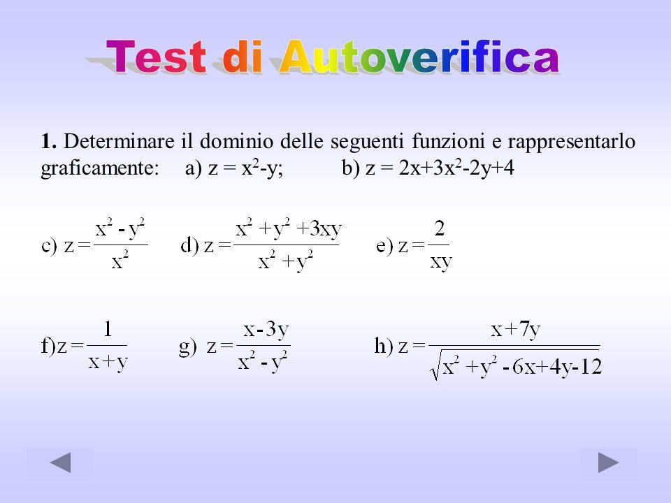 1. Determinare il dominio delle seguenti funzioni e rappresentarlo graficamente: a) z = x 2 -y; b) z = 2x+3x 2 -2y+4