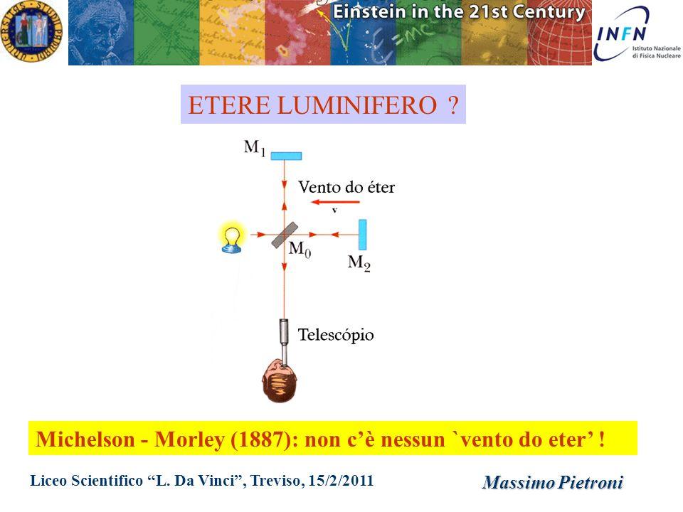 Liceo Scientifico L. Da Vinci, Treviso, 15/2/2011 Massimo Pietroni ETERE LUMINIFERO ? Michelson - Morley (1887): non cè nessun `vento do eter !