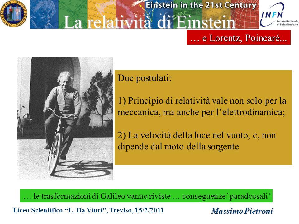 Liceo Scientifico L. Da Vinci, Treviso, 15/2/2011 Massimo Pietroni La relatività di Einstein … e Lorentz, Poincaré... Due postulati: 1) Principio di r