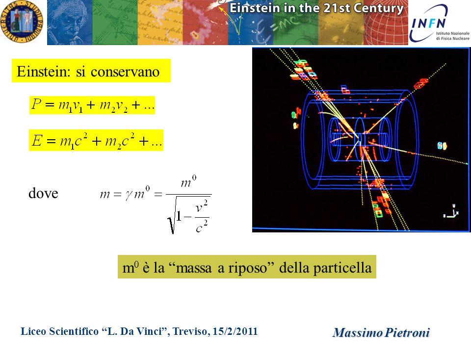 Liceo Scientifico L. Da Vinci, Treviso, 15/2/2011 Massimo Pietroni Einstein: si conservano dove m 0 è la massa a riposo della particella