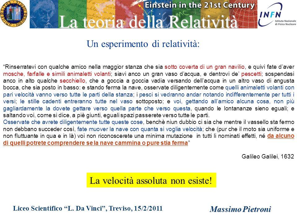 Liceo Scientifico L. Da Vinci, Treviso, 15/2/2011 Massimo Pietroni La teoria della Relatività Rinserratevi con qualche amico nella maggior stanza che