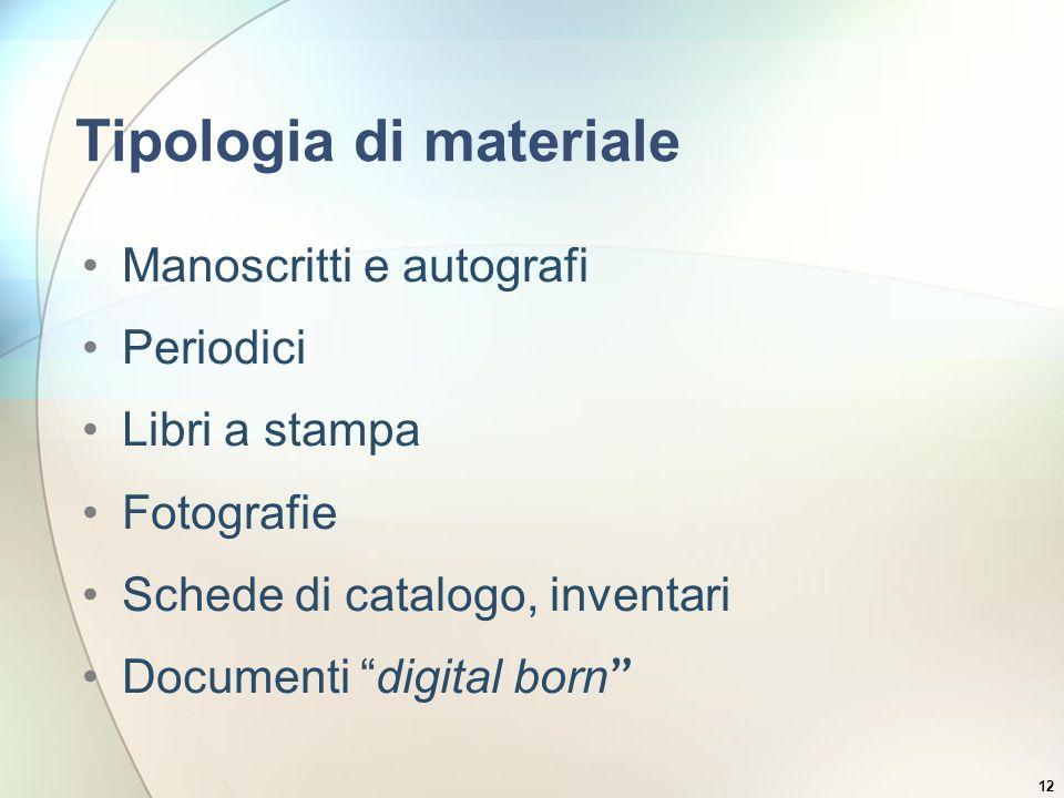 12 Tipologia di materiale Manoscritti e autografi Periodici Libri a stampa Fotografie Schede di catalogo, inventari Documenti digital born