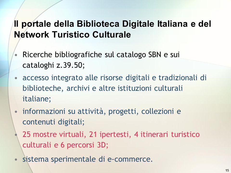 15 Il portale della Biblioteca Digitale Italiana e del Network Turistico Culturale Ricerche bibliografiche sul catalogo SBN e sui cataloghi z.39.50; a