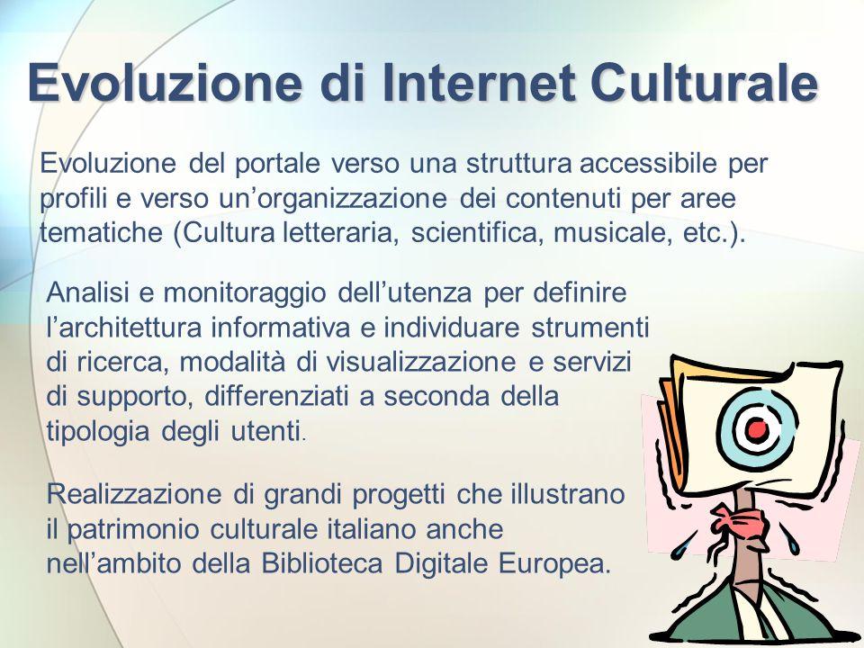 18 Evoluzione di Internet Culturale Evoluzione del portale verso una struttura accessibile per profili e verso unorganizzazione dei contenuti per aree