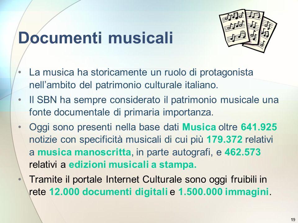19 Documenti musicali La musica ha storicamente un ruolo di protagonista nellambito del patrimonio culturale italiano. Il SBN ha sempre considerato il