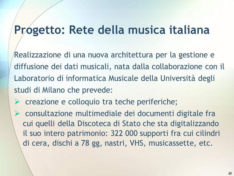 20 Progetto: Rete della musica italiana Realizzazione di una nuova architettura per la gestione e diffusione dei dati musicali, nata dalla collaborazi