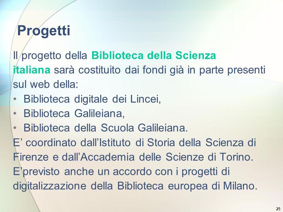 25 Progetti Il progetto della Biblioteca della Scienza italiana sarà costituito dai fondi già in parte presenti sul web della: Biblioteca digitale dei