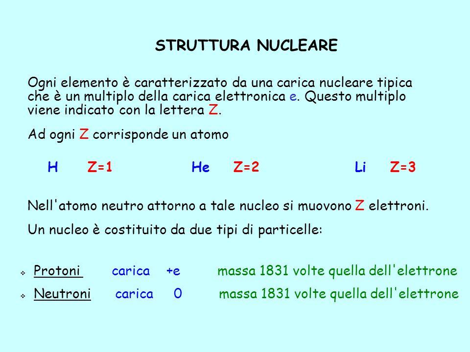 STRUTTURA NUCLEARE Protoni carica +e massa 1831 volte quella dell'elettrone Neutroni carica 0 massa 1831 volte quella dell'elettrone Ogni elemento è c