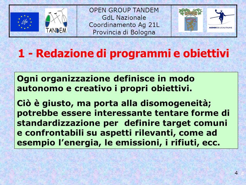 OPEN GROUP TANDEM GdL Nazionale Coordinamento Ag 21L Provincia di Bologna 4 z 1 - Redazione di programmi e obiettivi Ogni organizzazione definisce in