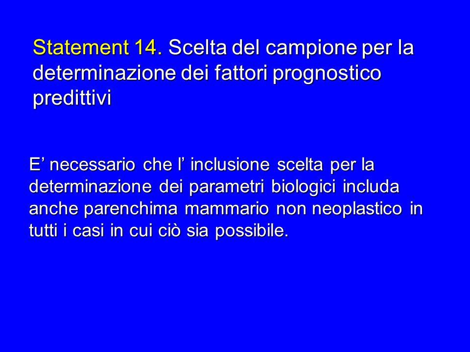 E necessario che l inclusione scelta per la determinazione dei parametri biologici includa anche parenchima mammario non neoplastico in tutti i casi i