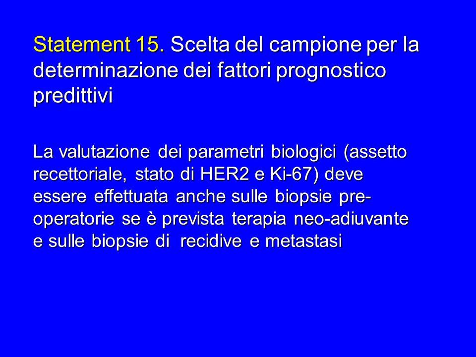 Statement 15. Scelta del campione per la determinazione dei fattori prognostico predittivi La valutazione dei parametri biologici (assetto recettorial