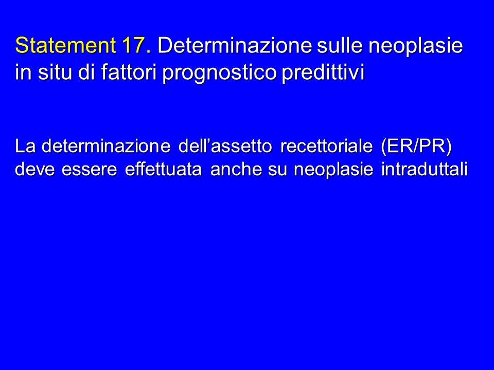 La determinazione dellassetto recettoriale (ER/PR) deve essere effettuata anche su neoplasie intraduttali Statement 17. Determinazione sulle neoplasie
