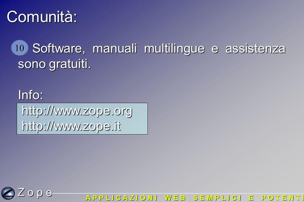 Comunità: Software, manuali multilingue e assistenza sono gratuiti.