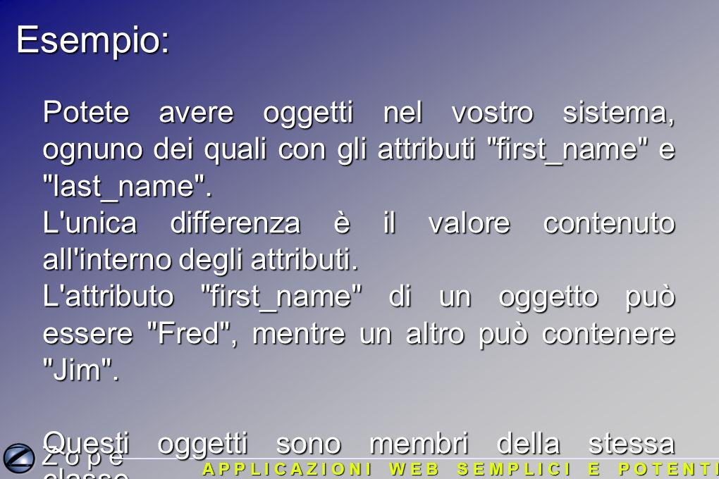 Z o p e A P P L I C A Z I O N I W E B S E M P L I C I E P O T E N T I Esempio: Potete avere oggetti nel vostro sistema, ognuno dei quali con gli attributi first_name e last_name .