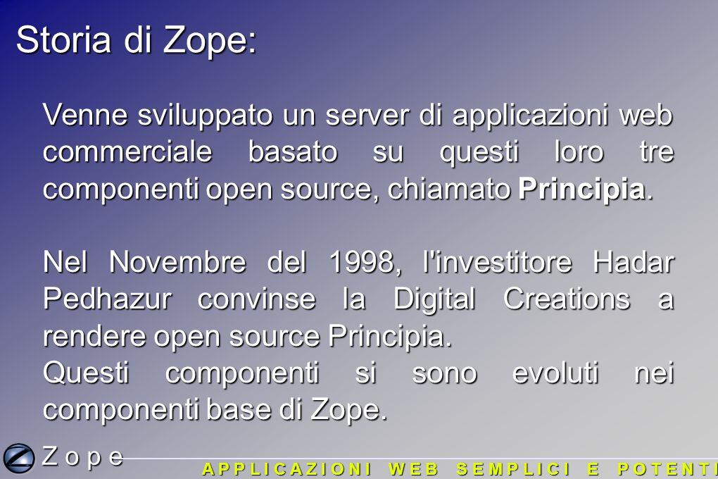 L acronimo Zope: L acronimo Zope sta per Z Object Publishing Environment (ambiente per pubblicazione di oggetti) L acronimo Zope sta per Z Object Publishing Environment (ambiente per pubblicazione di oggetti) Ora..