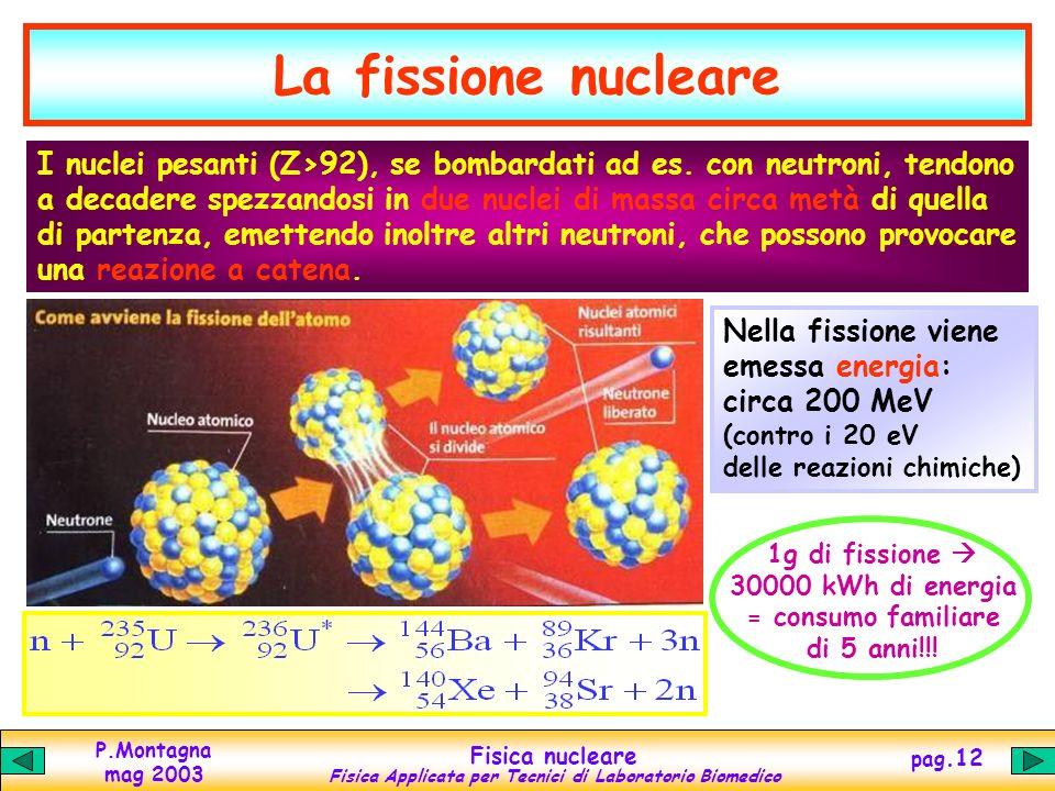 P.Montagna mag 2003 Fisica nucleare Fisica Applicata per Tecnici di Laboratorio Biomedico pag.11 Decadimenti radioattivi + Nuclei pesanti - ++ Nuclei