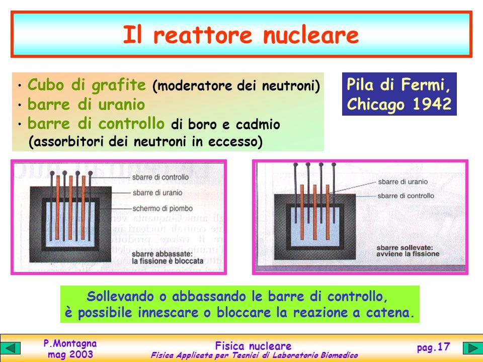 P.Montagna mag 2003 Fisica nucleare Fisica Applicata per Tecnici di Laboratorio Biomedico pag.16 Reazioni a catena La fissione nucleare può avvenire c