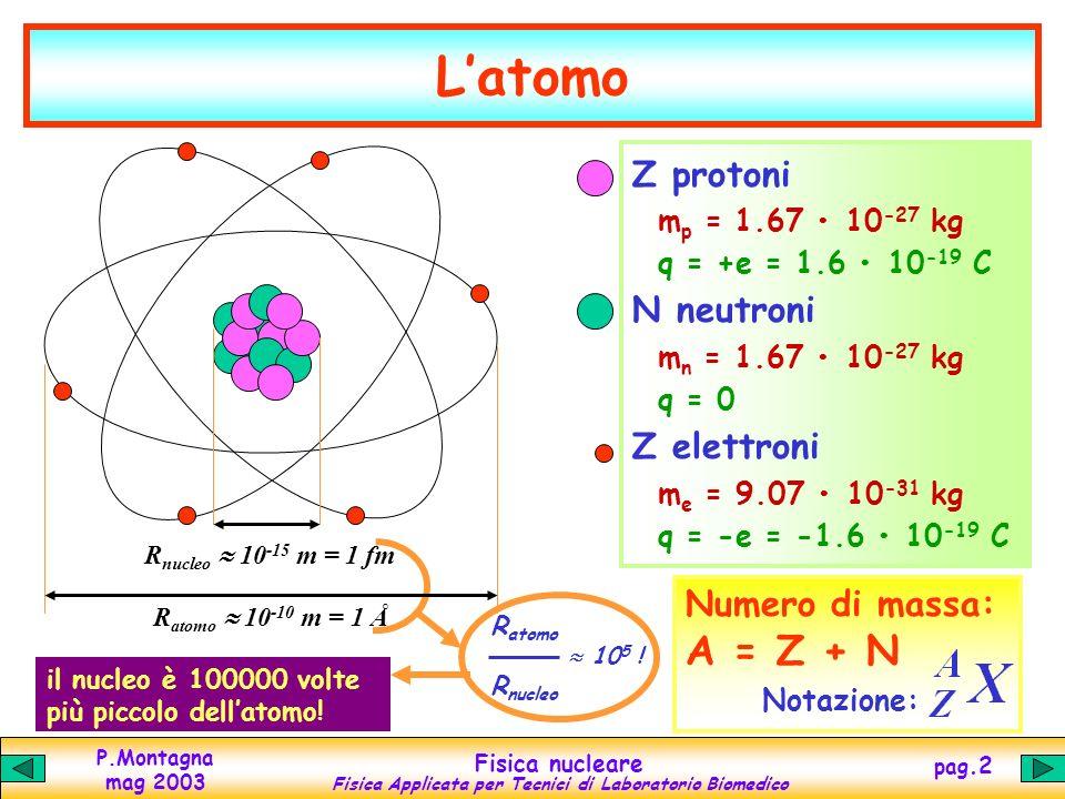 P.Montagna mag 2003 Fisica nucleare Fisica Applicata per Tecnici di Laboratorio Biomedico pag.1 IL NUCLEO ATOMICO E LENERGIA NUCLEARE Il nucleo atomic