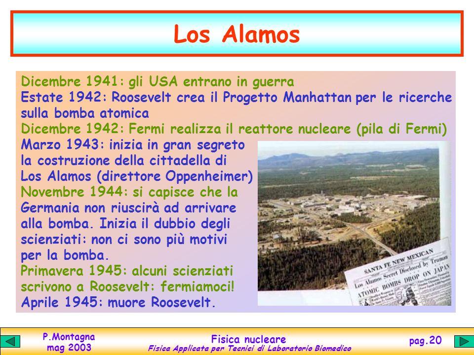 P.Montagna mag 2003 Fisica nucleare Fisica Applicata per Tecnici di Laboratorio Biomedico pag.19 Verso la bomba Il processo di fissione realizzato da