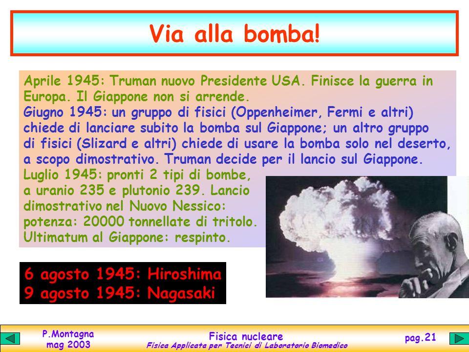 P.Montagna mag 2003 Fisica nucleare Fisica Applicata per Tecnici di Laboratorio Biomedico pag.20 Los Alamos Dicembre 1941: gli USA entrano in guerra E