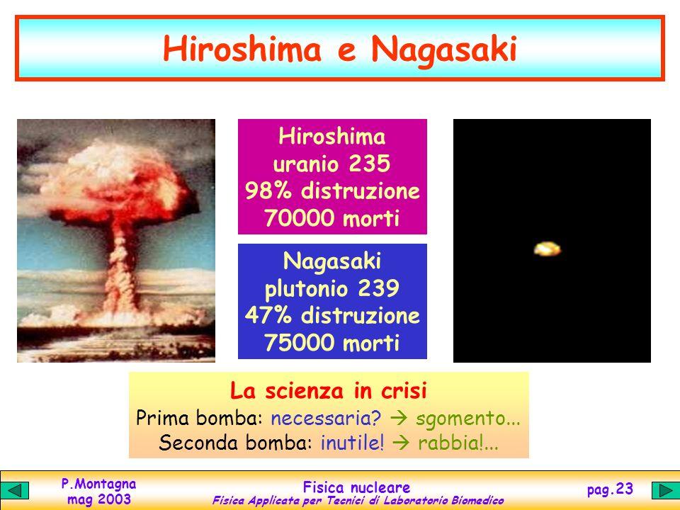 P.Montagna mag 2003 Fisica nucleare Fisica Applicata per Tecnici di Laboratorio Biomedico pag.22 La bomba atomica Principio contrario a quello del rea