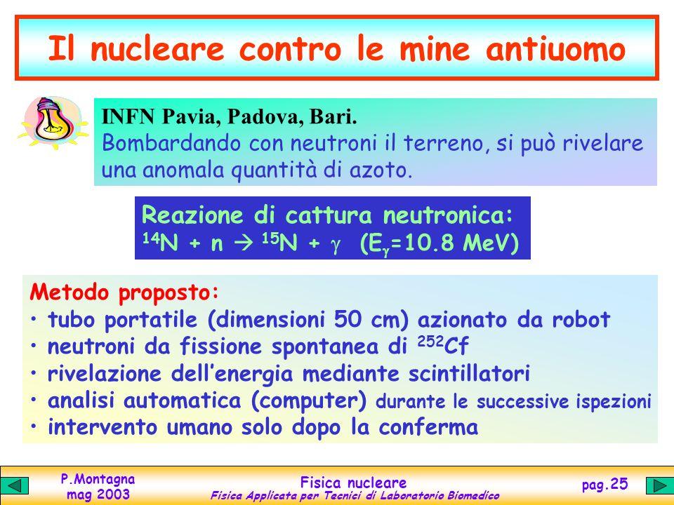 P.Montagna mag 2003 Fisica nucleare Fisica Applicata per Tecnici di Laboratorio Biomedico pag.24 Lo sminamento umanitario Lenergia nucleare, così deva