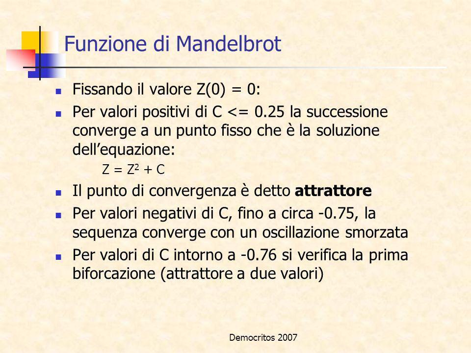 Democritos 2007 Funzione di Mandelbrot Fissando il valore Z(0) = 0: Per valori positivi di C <= 0.25 la successione converge a un punto fisso che è la